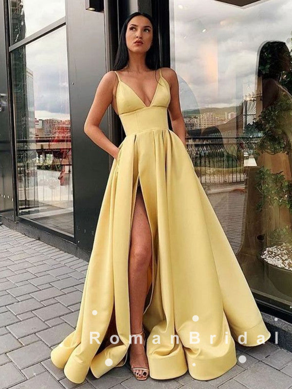 New Arrival A-Line V-Neck Spaghetti Straps Split Side Long Prom Dresses Online,RBPD0053