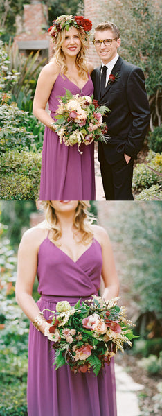 A-line V-neck Chiffon Simple Cheap Bridesmaid Dresses, BD0561