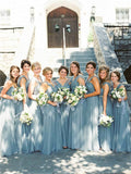 A-line Floor-length Long Tulle Cheap Bridesmaid Dresses, BD0559