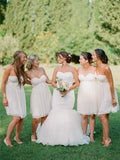 Sweetheart Short Simple Ivory Chiffon Bridesmaid Dresses, BD0565
