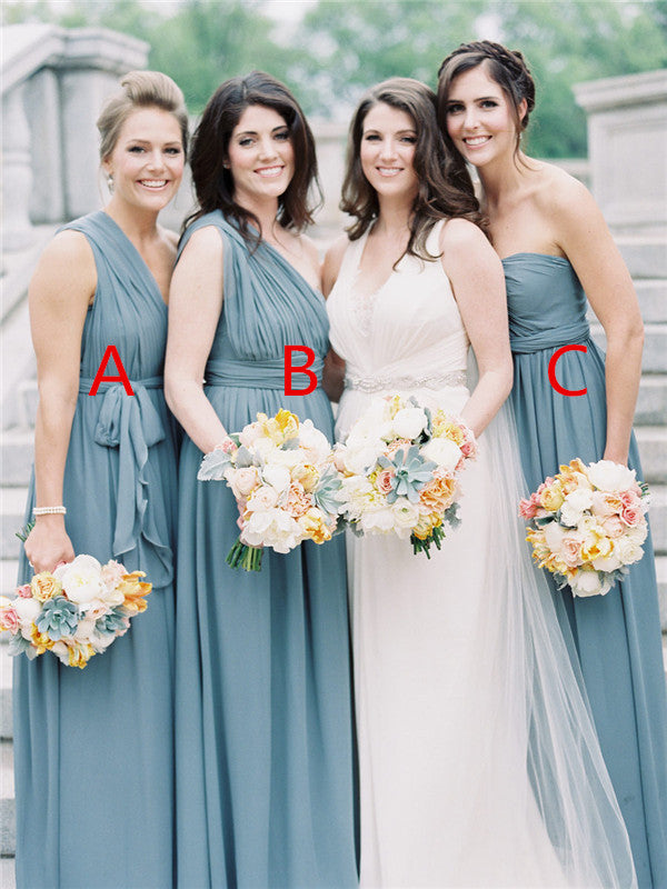 A-line Floor-length Chiffon Bridesmaid Dresses With Split, BD0560
