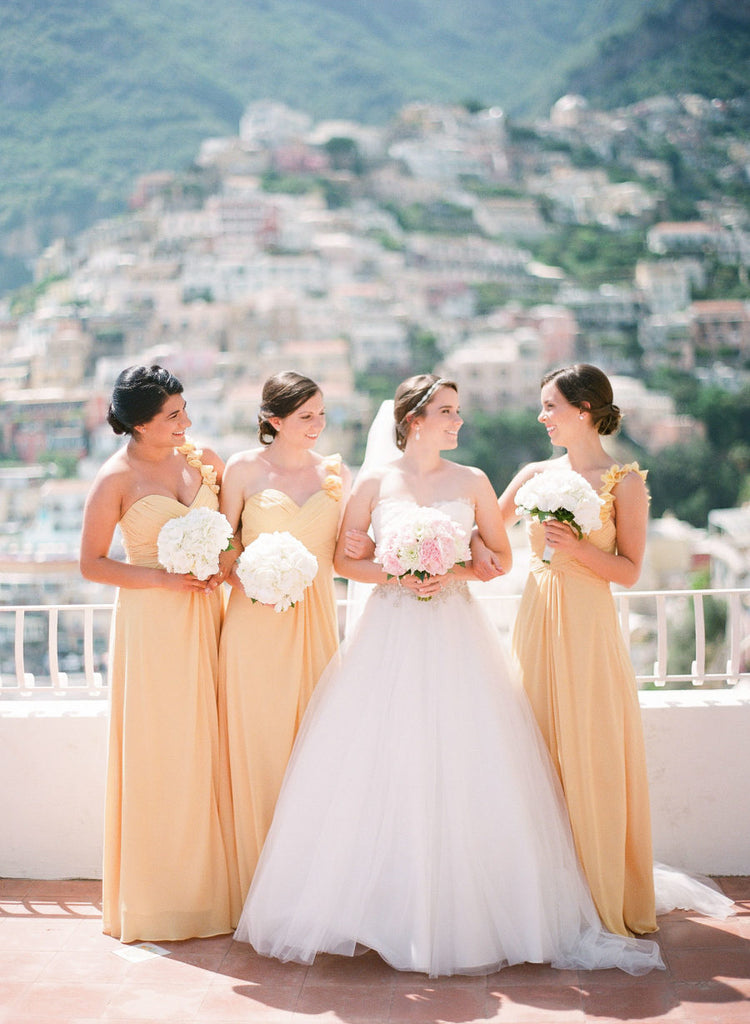 A-line Sweetheart Floor-length Appliques Yellow Bridesmaid Dresses, BD0558