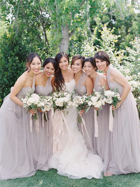 Newest Sweetheart Backless Cheap Tulle Bridesmaid Dresses, BD0562