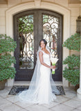 Amazing White lace sexy V-neck sleeveless elegant tail wedding dress, WD0330