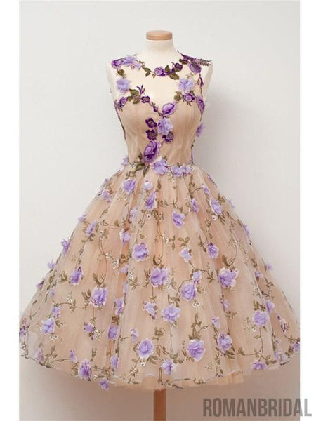 2018  Charming Handmade flowers, Unique Princess Dress, Sleeveless Homecoming Dress, HD0302