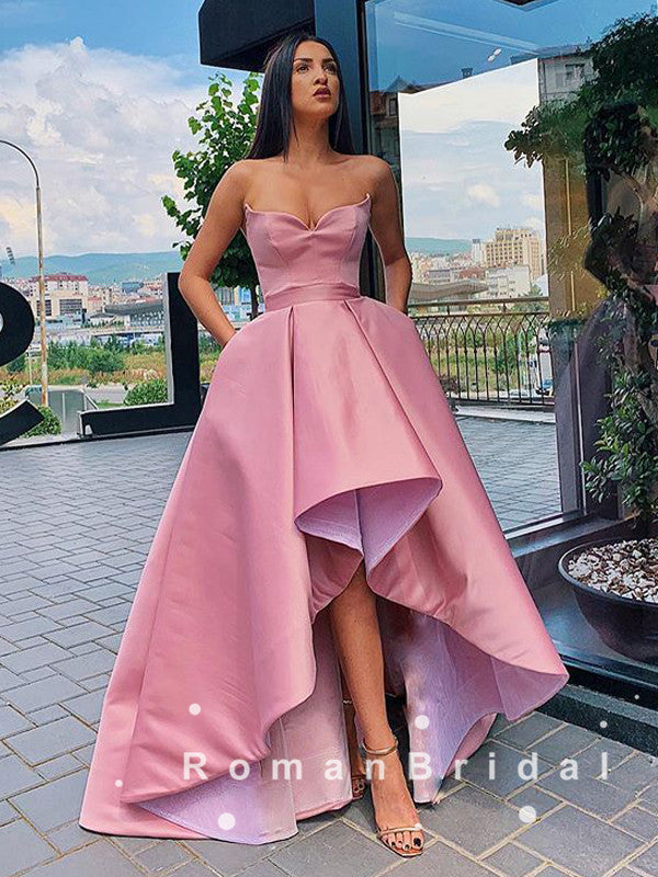 Ball Gown Sweetheart High Low Simple Cheap Prom Dresses Online,RBPD0005