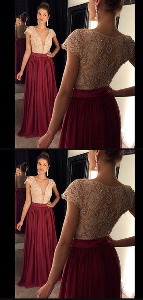 A-line Floor-length Deep V-neck Lace Top Burgundy Prom Dress, PD0635