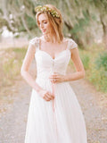 Long Chiffon Sweetheart Elegant Beaded Cap Sleeve Backless Lace Wedding Dress, WD0372