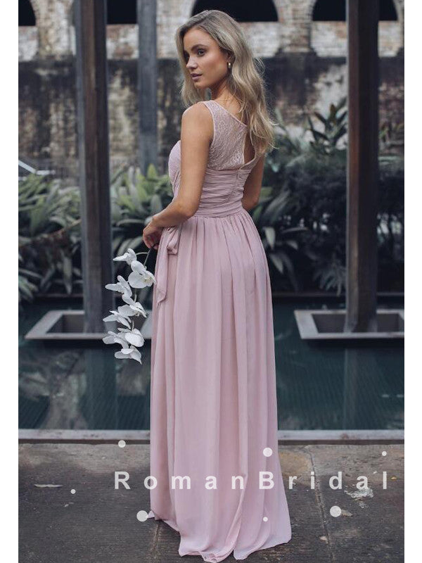 See Through A-Line Scoop Neckline Chiffon Pleats Long Bridesmaid Dresses With Lac,RBWG0006