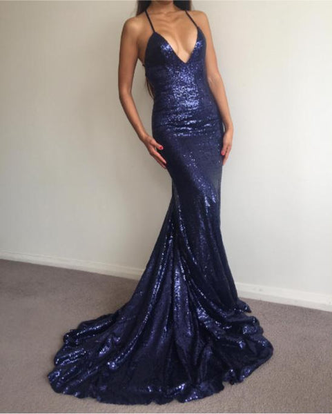 2018 Charming Sexy Spaghetti Straps Mermaid Prom Dresses, Sparkly New Unique Design Prom Dress, PD0320