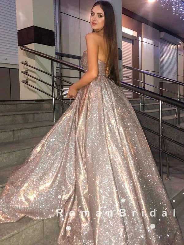 Charming Shinny A-Line Sweetheart Long Prom Dresses With Cross Neck,RBPD0060