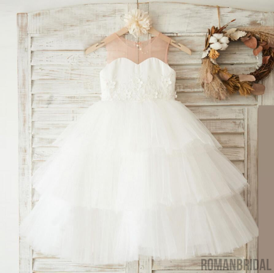 2018 Cute Flower Girl White Jewel Sleeveless Tulle Dress, Sweet Flower Girl White Dress, FD0094