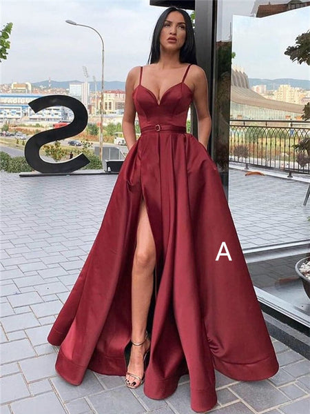 A-line Floor-length Spaghetti Straps V-neck Long Prom Dresses With Split, PD0777
