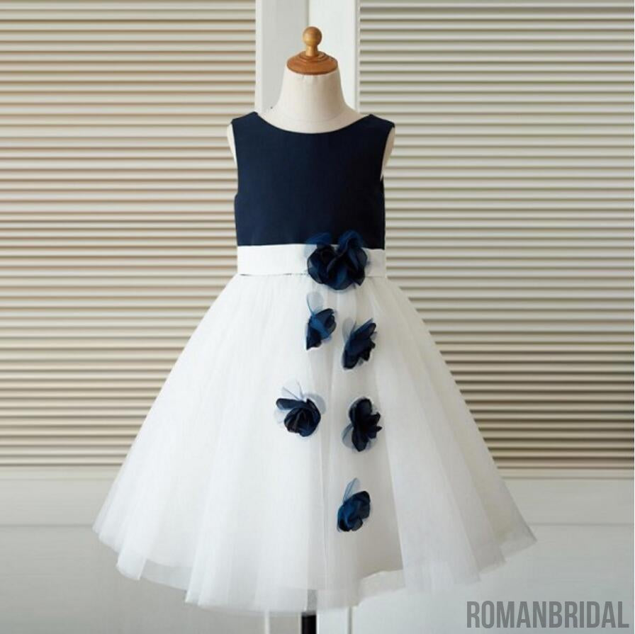 Sleeveless applique round neck princess dress, Navy blue shirt white dress, Flower girl dress, FG0095