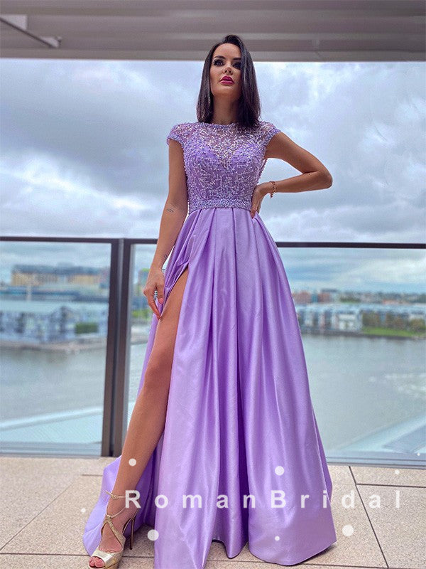 A-Line Round Neck Cap Sleeves Split Side Floor Length Prom Dresses With Beading,RBPD0061
