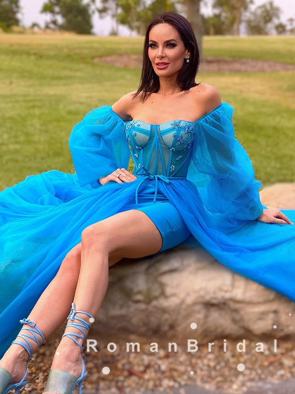Charming A-Line Off The Shoulder Long Sleeves Blue Tulle Detachable Cheap Prom Dresses,RBPD0062
