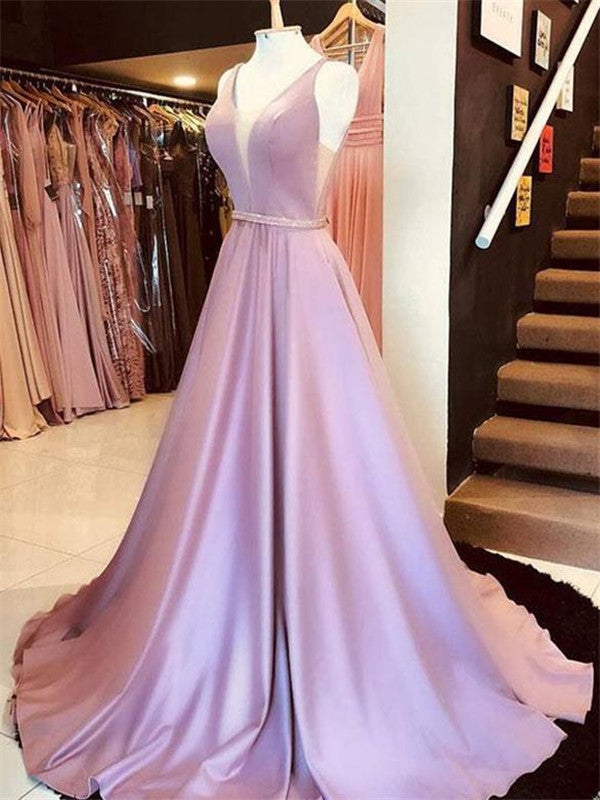 Simple A-Line V-Neck Sleeveless Long Prom Dresses, PD0751