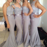 2018 Popular Four Differnt Styles Mismatched Lace Grey Sexy Mermaid Long Bridesmaid Dresses, WG62