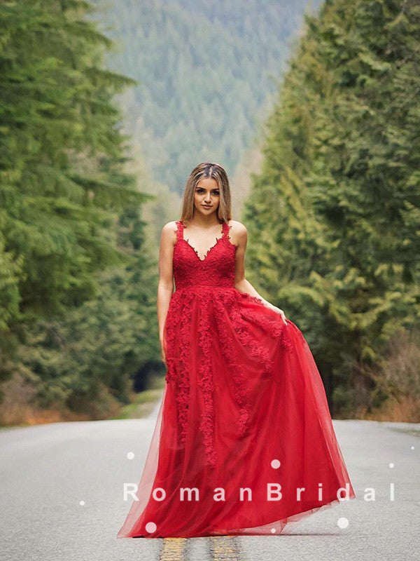 A-Line V-Neck Spaghetti Straps Red Tulle Long Prom Dresses With Lace,RBPD0064
