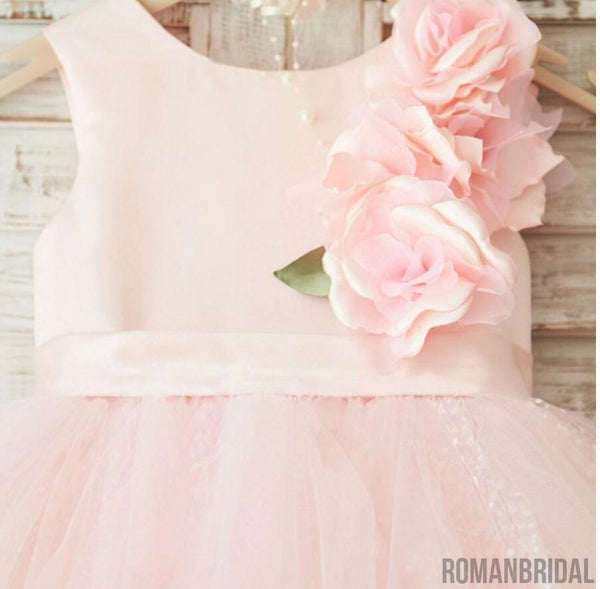 Pink Round neck applique zipper Dreamy Dress, sweet Flower Girl Dress, FG0099