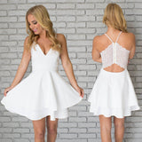 A Line White V-neck Spaghetti Straps Short Mini Homecoming Dresses, HD0358