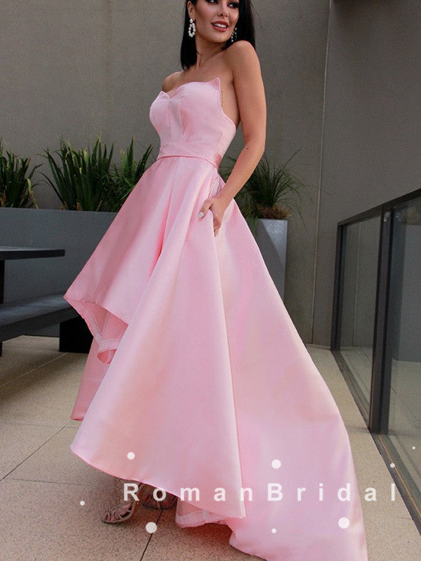 A-Line Sweetheart Pink Satin High Low Prom Dresses Online,RBPD0067