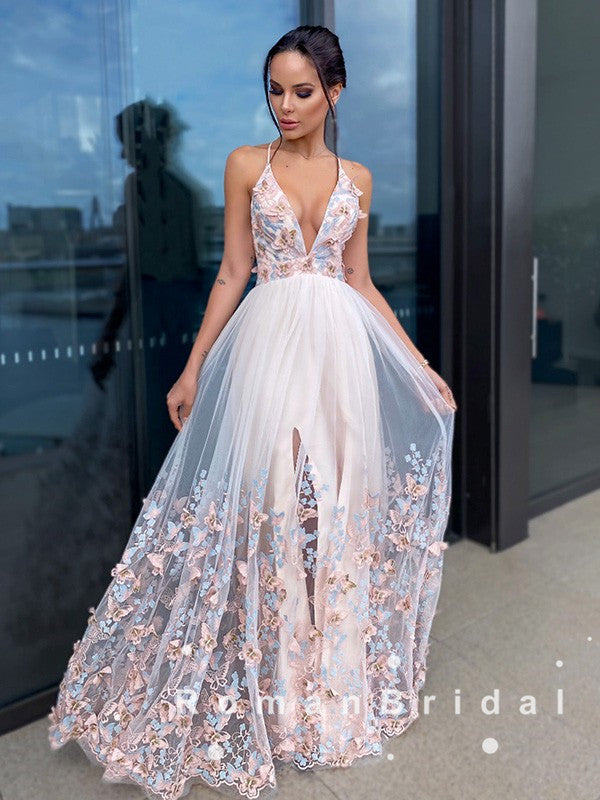 A-Line Deep V-Neck Halter Tulle Long Prom Dresses With Appliques,RBPD0068