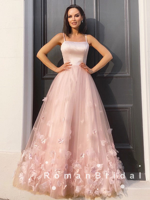 A-Line Spaghetti Straps Tulle Long Prom Dresses With Flowers,RBPD0069