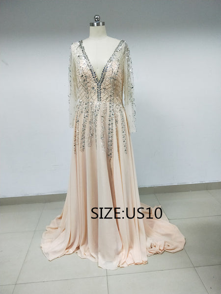 Discount Sparkly Deep V-neck Long Sleeves Prom Dresses, DD0105