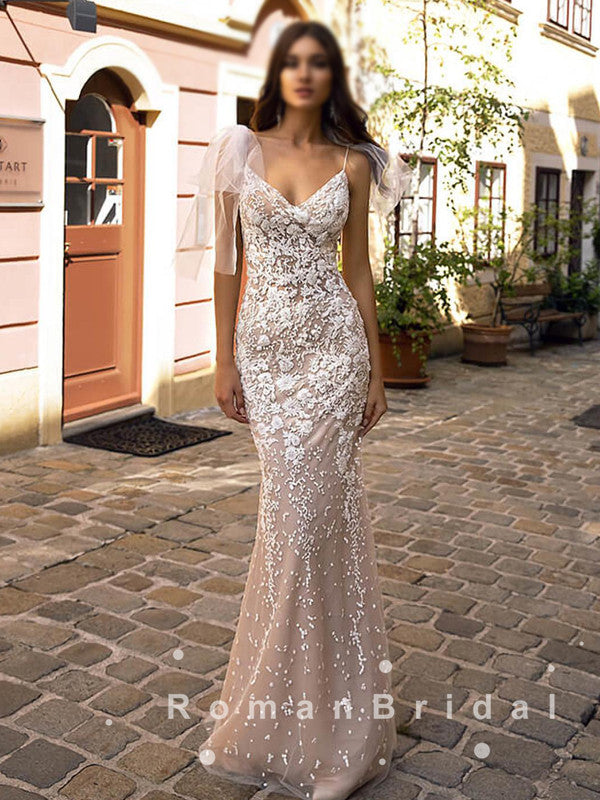 Mermaid V-Neck Spaghetti Straps Floor Length Wedding Dresses With Lace,RBWD0006