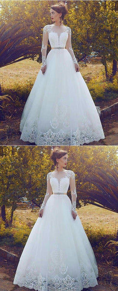 Elegant A-line Floor-length Long Sleeves Lace Appliques Wedding Dresses, WD0398