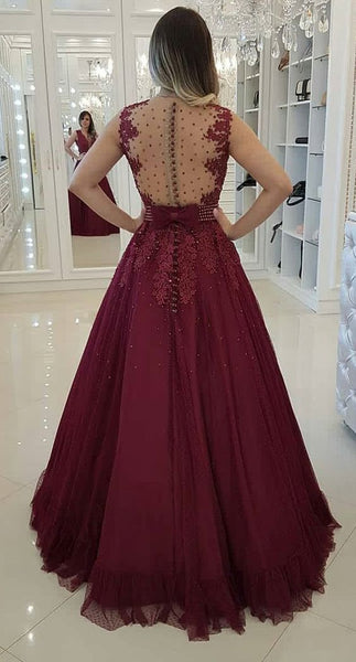 A-line Deep V-neck Sleeveless Appliques And Beading Long Prom Dresses, PD0768