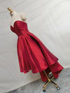 New Arrival Red sweetheart Lace up back Pleats short prom dresses, simple Homecoming dresses, HD0343