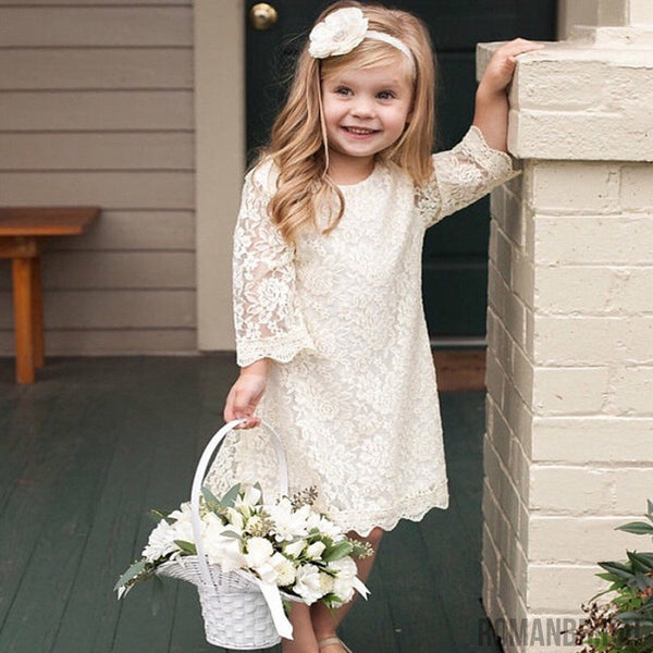 Ivory Lace Dress for Toddler, Little Girls Rustic Vintage Flower Girl Dress, FG0116