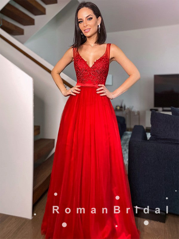 A-Line V-Neck Sleeveless Straps Red Long Prom Dresses With Lace,RBPD0072