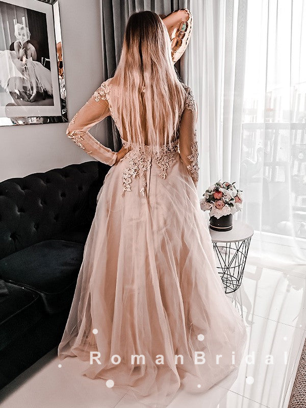 A-Line Round Neck Long Sleeves Tulle Custom Prom Dresses With Lace,RBPD0073