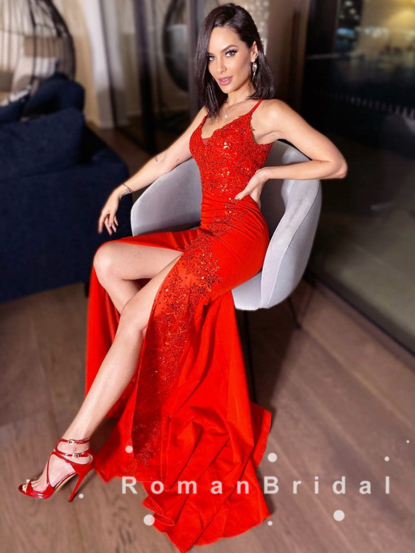 Alluring Mermaid V-Neck Spaghetti Straps Red Long Prom Dresses With Sequins,RBPD0074