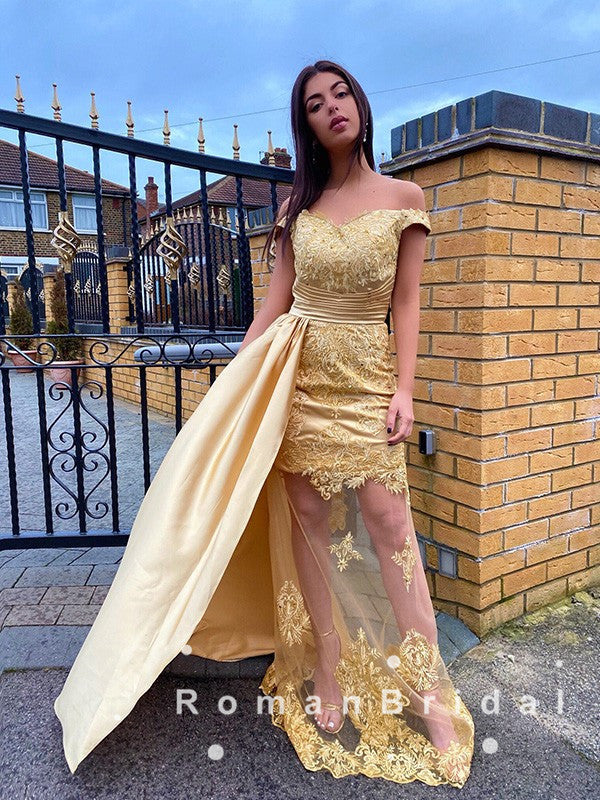 See Through Sheath Off The Shoulder Gold Detachable Long Prom Dresses With Lace,RBPD0075