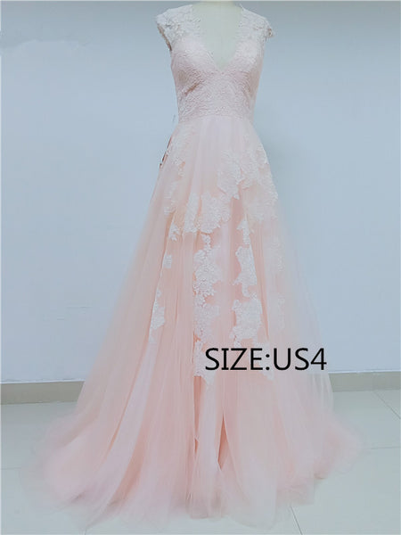 Discount A-line V-neck Long tulle Prom Dresses, DD0106