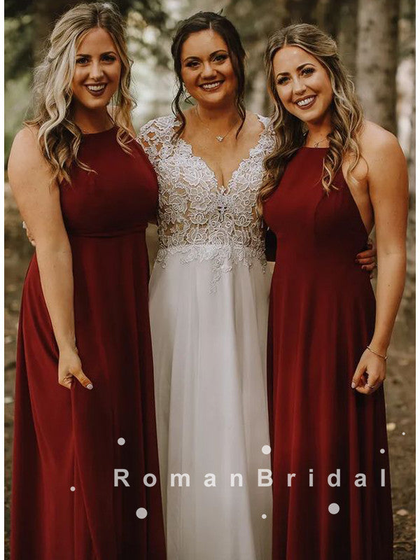 Simple A-Line Halter Burgundy Chiffon Long Bridesmaid Dresses,RBWG0007