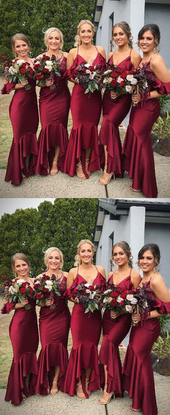 Gorgeous Spaghetti Straps V Neck Wine Red Mermaid Long Bridesmaid Dress, BD0478