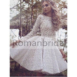 2018 Lovely pure white short Lace Bateau Full sleeve princess dress,  Homecoming Dress, HD0308