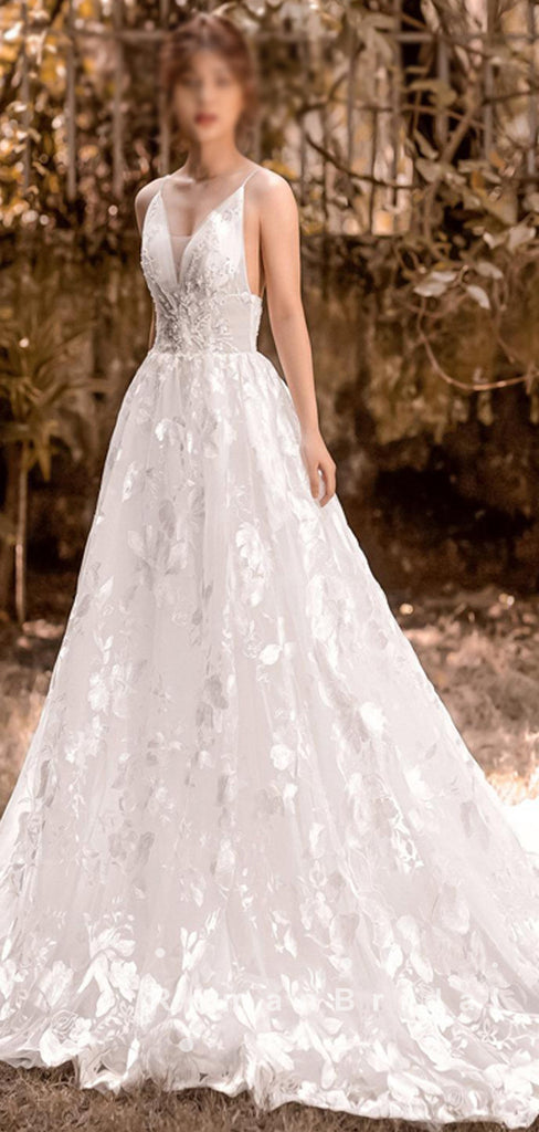 A-Line V-Neck Spaghetti Straps Lace Long Wedding Dresses Online,RBWD0008