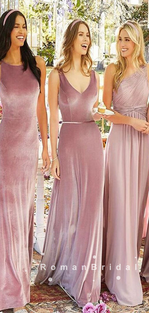 Mermaid V-Neck Sleeveless Velvet Cheap Bridesmaid Dresses With Belt,RBWG0008