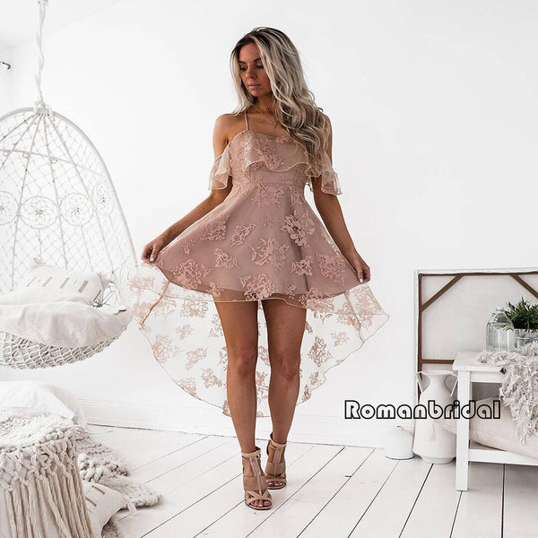 2d7a99736ec A-Line Spaghetti Straps off-shoulder Front short back long Pink Lace  Homecoming dresses