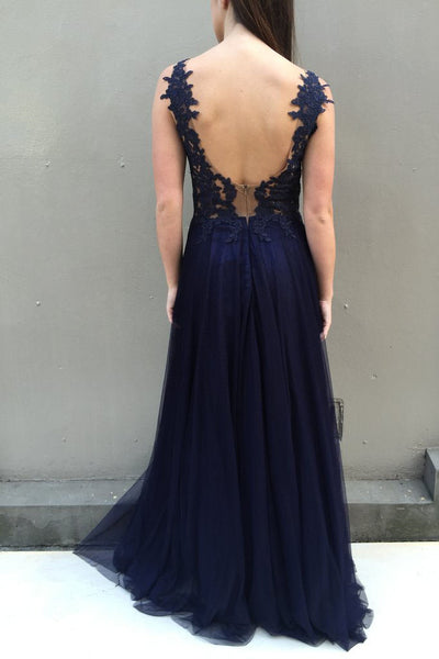 A-line V-neck Lace Appliques Backless Long Navy Blue Prom Dresses, PD0577