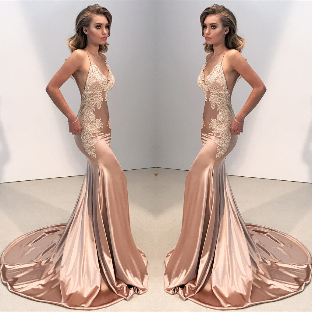 Charming rose gold deep V-neck lace Spaghetti Strap backless Trumpet long prom  dresses  d2bf15627