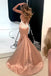 Charming deep V-neck lace Spaghetti Strap backless Trumpet long prom dresses , PD0520