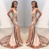 Charming rose gold deep V-neck lace Spaghetti Strap backless Trumpet long prom dresses , PD0520