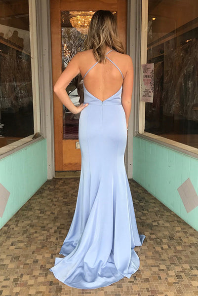 Spaghetti Straps V-neck Backless Long Blue Simple Prom Dresses, PD0576